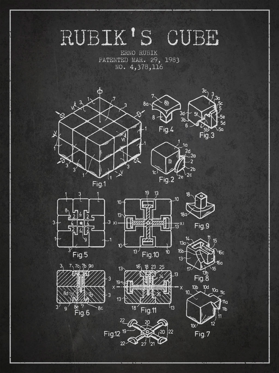 patent drawing of Rubiks Cube