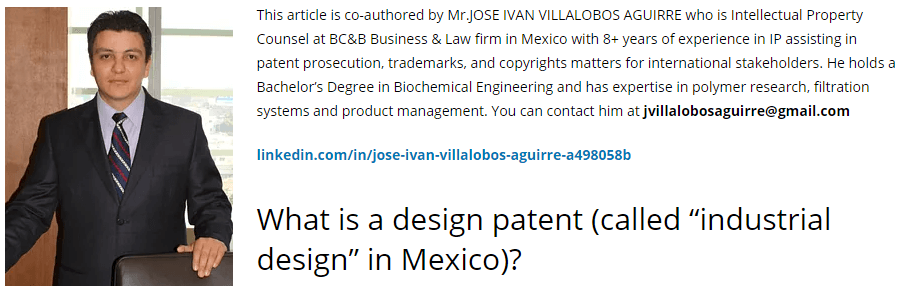 Mexico Design patent cost